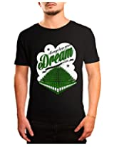 Bushirt Men's Round Neck Cotton T-Shirt (DN00089- Dream_Black_Small)