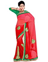 Zoom Embroidered Saree (3186_Red)