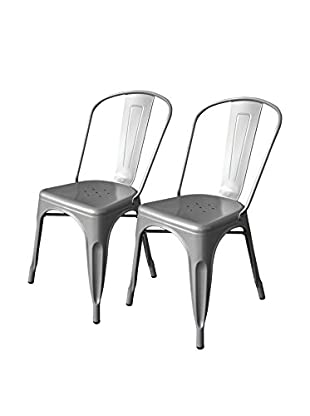 Aeon Furniture Set of 2 Garvin Chairs, Silver