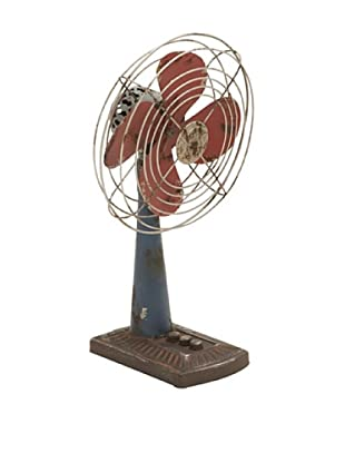 Decorative Metal Desk Fan with 3 Push Buttons on Base