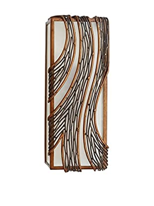Varaluz Flow 2-Light Wall Sconce, Hammered Ore/Frosted