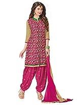 Salwar Studio Rani & Beige Cotton Dress Material with Dupatta Royal Patiyala-5007