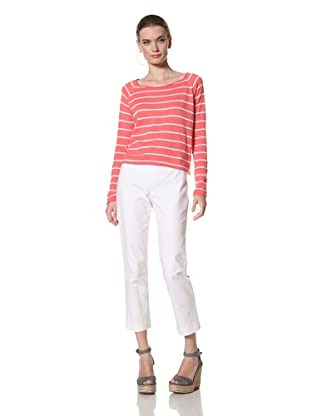 525 America Women's Long Sleeve Stripe Pullover (Tuscan Coral Combo)