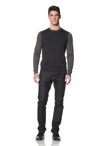 Cullen Men's Color Block Crew Sweater (Charcoal/Olive)