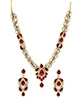 Scrunchh Curvey CZ Maroon and White Kundan Set