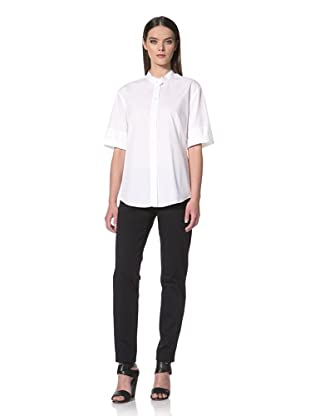 JIL SANDER NAVY Women's Roll Sleeve Button Front Shirt (White)