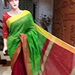 Green Plain / Solid Cotton Saree With blouse piece