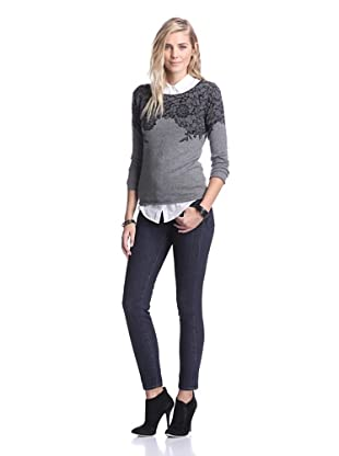 Kier & J Women's Lace Boatneck Sweater (Gris/Black)