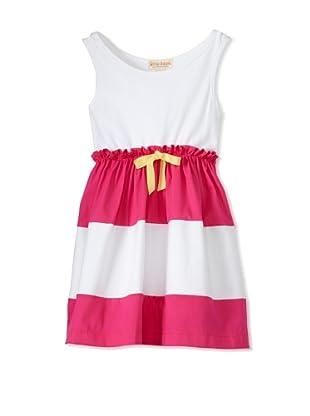 Upper School Girl's Sleeveless Dress with Bow (Magenta/White)