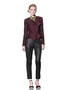 Bensoni Women's Fringe Peplum Jacket (Wine)