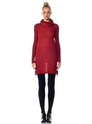 Eccentrica Kleid mit großem Ringelkragen (Rubinrot)