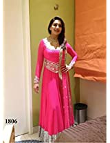 1013-Madhuri Dixit Style Pink Heavy Embroidery Work Floor Length Anarkali Suit