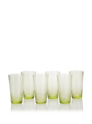 Impulse! Set of 6 Roma Highball Glasses, Green, 20-Oz.