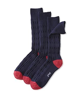 2(x)ist Men's 3-Pack of Solid Socks (Navy Blue/Red)