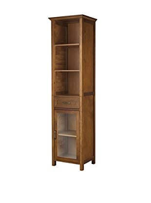 Elegant Home Fashions Avery 3-Shelf Linen Cabinet with Drawer, Oil Oak