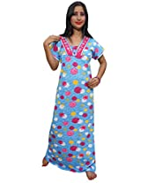 Indiatrendzs Women's Blue Nighty Nightgown Nightdresses