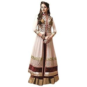 White, Golden & Maroon Georgette Top With Santoon Bottom & Chiffon Dupatta Resham & Zari Embroidery Work Anarkali Salwar Suit Set