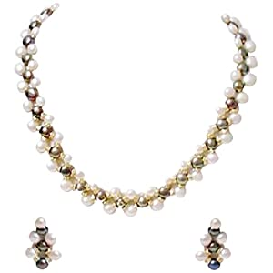 Trendy Souk Sensuous Beauty Grey & White Necklace Set (TRENDY43)