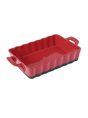 Delys-by-Crealys Fuente rectangular para horno en gres rojo/negro