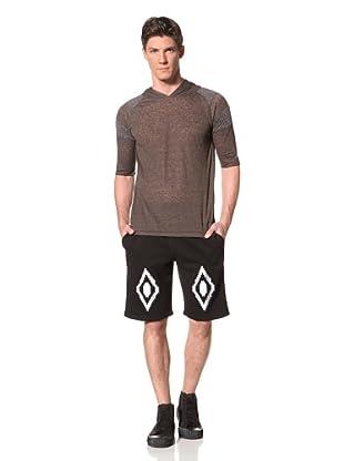 Zen Mechanics Men's 3/4 Sleeves Knit Top with Hood (Olive Combo)
