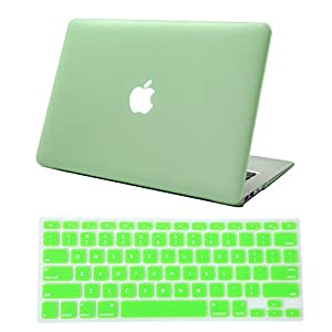 HDE Frosted Matte Rubber Coated Hard Shell Clip Snap-On Case Skin Cover for Macbook Air 13 w/ Matching Keyboard Skin (Seafoam Green)