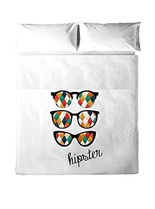 Hipster Betttuch und Kissenbezug Glasses