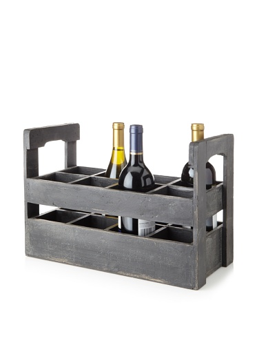 Wald Imports Vintage Wood Wine Carrier, Charcoal