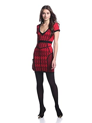 Stretta Women's Dion Stretch Dress (Black/Crimson)