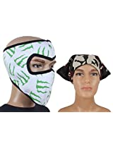 Jstarmart White Green Face Mask Combo Headwrap