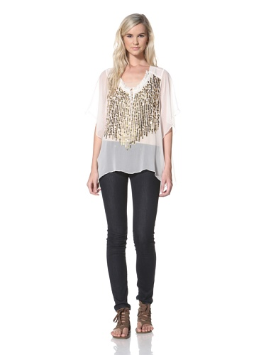TBags Los Angeles Women's Sheer Top (Ivory)