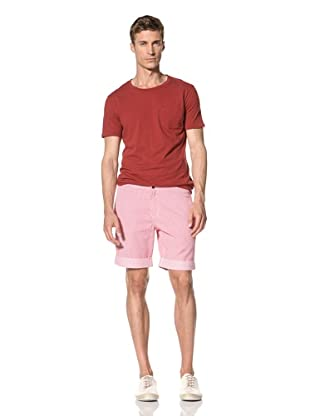 Vanishing Elephant Men's Cuffed Pop Button Short (Red/White Stripe)