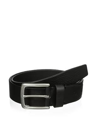 J.Campbell Los Angeles Men's Pebble Grain Antiqued Nickel Buckle Belt (Black)