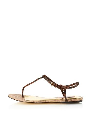 Ted Baker Women's Ajania T-Strap Sandal (Dark Brown)