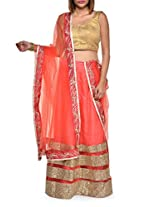 Gold trimmed orange lehenga set