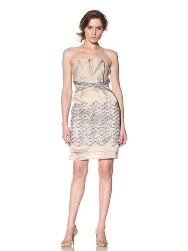 Bibhu Mohapatra Women's Strapless Dress (Beige/Navy)