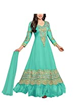 Vibes Women Gorgette Salwar Suit Dress Material (V168-36000C -Green -Free Size)