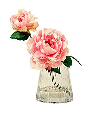 Creative Displays Peony In Square Glass Vase, Pink
