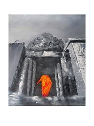 Legendarte Pintura al Óleo sobre Linezo Visita Al Tempio 50X60