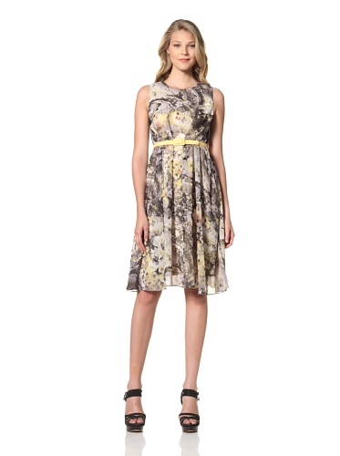 Eva Franco Women's Samantha Floral Printed Dress with Belt (Yellow Fields)