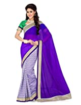 Saree Swarg Saree (Off White Purple)
