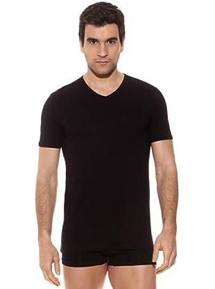 Kappa Camiseta mc Caballero Cuello Pico Algodón Elástico (Negro)