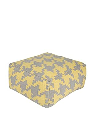 Surya Frontier Pouf, Yellow/Grey