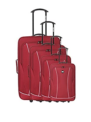 Bag Stone Set de 4 trolleys semirrígidos Gold Rojo