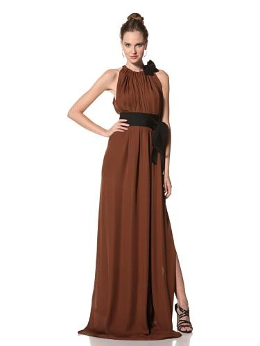 Juan Carlos Obando Women's Sleeveless Belted Long Dress (Rust)