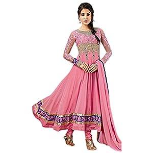 Pink Georgette Top With Santoon Bottom & Chiffon Dupatta Heavy Embroidery & Hand Work Anarkali Salwar Kameez Suit