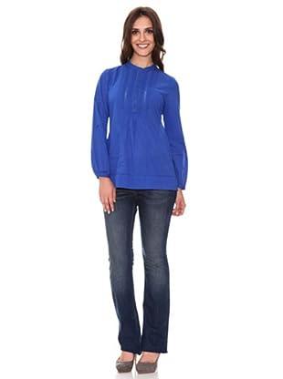 Cortefiel Bluse mit Maokragen (Blau)
