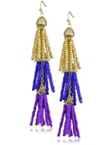 RAIN Blue, Purple, Gold Beaded Dangle Earrings