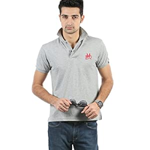 Solid Grey Melange Polo T Shirt