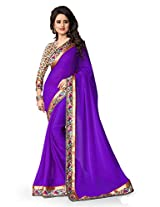 Shree laxmi creations women,s Bule colour chiffon saree