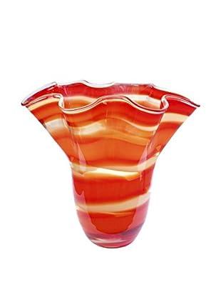 Jozefina Art Glass Mambo Vase, Amber/Red/Cream